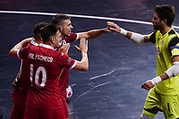 9th October 2020; Palau Blaugrana, Barcelona, Catalonia, Spain; UEFA Futsal Champions League Finals; Mrucia FS versus MFK Tyumen;   Alberto of Mrucia celebration after scoring