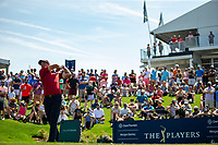 14th March 2021; Ponte Vedra Beach, Florida, USA;  Adam Scott of Australia plays a tee shot on the 18th hole during the final round of THE PLAYERS Championship on March 14, 2021 at TPC Sawgrass Stadium Course in Ponte Vedra Beach, Fl.
