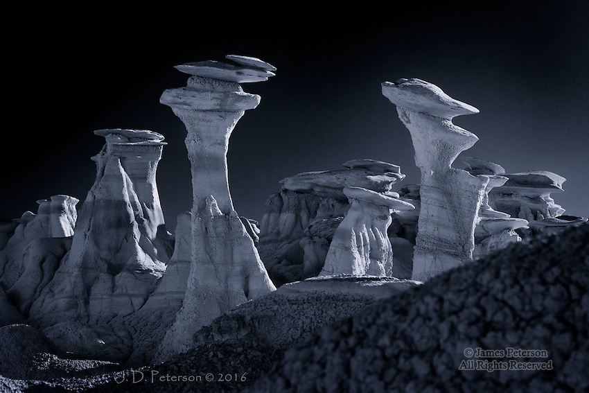 Nest of Hoodoos, Bisti Badlands, New Mexico  ©2016 James D Peterson.  Mother Earth creates a haunting embodiment of her inner moods in this eerie landscape.<br />