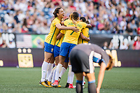 Seattle, WA - Thursday July 27, 2017:   Brazil celebrates during a 2017 Tournament of Nations match between the women's national teams of the Japan (JAP) and Brazil (BRA) at CenturyLink Field.
