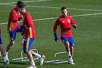 Spainsh Alvaro Morata and Lucas Vazquez during the training of the spanish national football team in the city of football of Las Rozas in Madrid, Spain. November 09, 2016. (ALTERPHOTOS/Rodrigo Jimenez) ///NORTEPHOTO.COM
