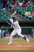 Montgomery Biscuits David Rodriguez (12) at bat during a Southern League game against the Mobile BayBears on May 2, 2019 at Riverwalk Stadium in Montgomery, Alabama.  Mobile defeated Montgomery 3-1.  (Mike Janes/Four Seam Images)