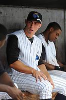 Trenton Thunder infielder Andrew Clark (49) during game against the Harrisburg Senators at ARM & HAMMER Park on July 31, 2013 in Trenton, NJ.  Harrisburg defeated Trenton 5-3.  (Tomasso DeRosa/Four Seam Images)