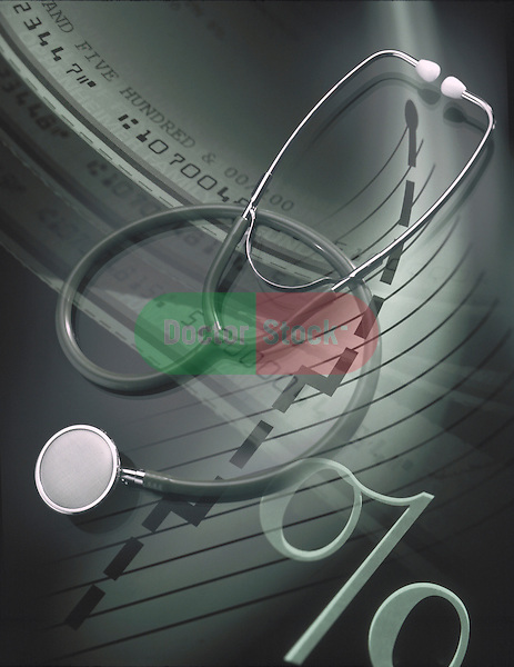 medical cost composite with stethoscope and checks