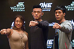(l-r) Angela Lee, Christian Lee and Eddie Ng, fighters of One Championship - Heroes of the World pose for photos during the press conference on 04 August 2016 held at Conrad Hotel, Hong Kong, China. Photo by Marcio Machado / Power Sport Images