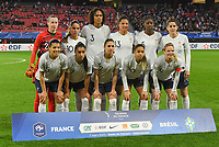 20200307  Valenciennes , France : French team with Pauline Peyraud (21)   Charlotte Bilbault (14)   Delphine Cascarino (20)   Kenza Dali (15)   Valerie Gauvin (13)   Sakina Karchaoui (7)   Eugenie Le Sommer (9)   Amel Majri (10)   Eve Perisset (2)   Wendie Renard (3)   Aissatou Tounkara (5)  pictured during the female football game between the national teams of France and Brasil on the second matchday of the Tournoi de France 2020 , a prestigious friendly womensoccer tournament in Northern France , on Saturday 7 th March 2020 in Valenciennes , France . PHOTO SPORTPIX.BE | DIRK VUYLSTEKE