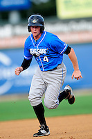 Hudson Valley Renegades designated hitter Alex Schmidt (4) during a game versus the Lowell Spinners at Lelacheur Park on August 30, 2015 in Lowell, Massachusetts.  (Ken Babbitt/Four Seam Images)