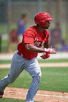 St. Louis Cardinals Eliezer Alvarez (22) runs to first base during a Minor League Spring Training game against the New York Mets on March 31, 2016 at Roger Dean Sports Complex in Jupiter, Florida.  (Mike Janes/Four Seam Images)