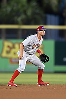 Clearwater Threshers shortstop Devin Lohman (8) during a game against the Dunedin Blue Jays on April 10, 2015 at Florida Auto Exchange Stadium in Dunedin, Florida.  Clearwater defeated Dunedin 2-0.  (Mike Janes/Four Seam Images)