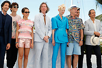"""CANNES, FRANCE - JULY 13: Us actor Adrien Brody, French-Us actor Timothee Chalamet, French-Algerian actress Lyna Khoudri, Us director Wes Anderson, British actress Tilda Swinton, Us actor Bill Murray, Us actor Benicio Del Toro and French music composer Alexandre Desplat  at photocall for the film """"The French Dispatch"""" at the 74th annual Cannes Film Festival in Cannes, France on July 13, 2021 <br /> CAP/GOL<br /> ©GOL/Capital Pictures"""