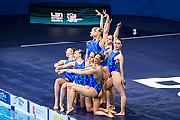 Artistic Swimming<br /> Team Free<br /> Final<br /> HUN HUNGARY<br /> FARKAS Linda<br /> GACS Boglarka<br /> GOTZ Lilien<br /> HATALA Hanna<br /> HUNGLER Szabina<br /> REGENYI Adelin<br /> RENYI Luca<br /> SZABO Anna Viktoria<br /> APATHY Anna<br /> BARTA Nike'<br /> XXXV LEN European Aquatic Championships<br /> Duna Arena<br /> Budapest  - Hungary  11/5/2021<br /> Photo Pasquale Francesco Mesiano / Deepbluemedia / Insidefoto