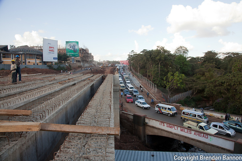 Traffic backed up on Museum Hill in Nairobi as construction takes place.