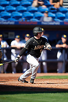 Army West Point Matt Hudgins (5) hits a single during a game against the Michigan Wolverines on February 18, 2018 at First Data Field in St. Lucie, Florida.  Michigan defeated Army 7-3.  (Mike Janes/Four Seam Images)