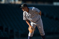 Peoria Javelinas relief pitcher Travis Radke (80), of the San Diego Padres organization, looks in for the sign during an Arizona Fall League game against the Mesa Solar Sox at Sloan Park on November 6, 2018 in Mesa, Arizona. Mesa defeated Peoria 7-5 . (Zachary Lucy/Four Seam Images)