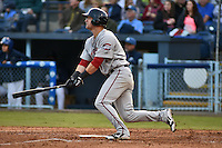 Greenville Drive designated hitter Zach Kapstein #40 swings at a pitch during a game against the  Asheville Tourists at McCormick Field on May 17, 2014 in Asheville, North Carolina. The Tourists defeated the Drive 14-6. (Tony Farlow/Four Seam Images)