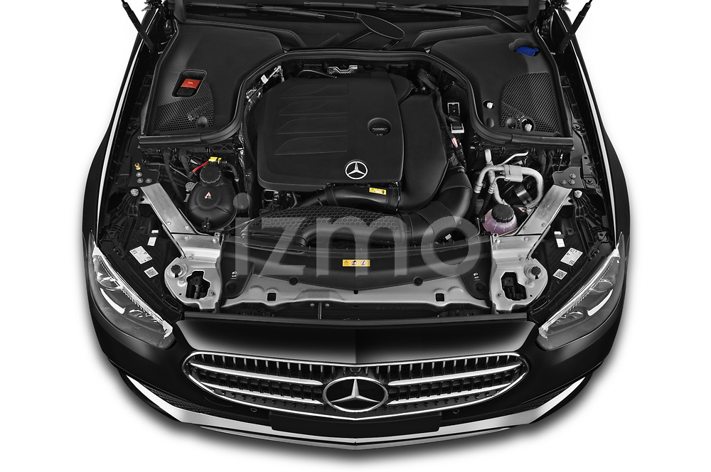 Car Stock 2021 Mercedes Benz E-Class Avantgarde 4 Door Sedan Engine  high angle detail view