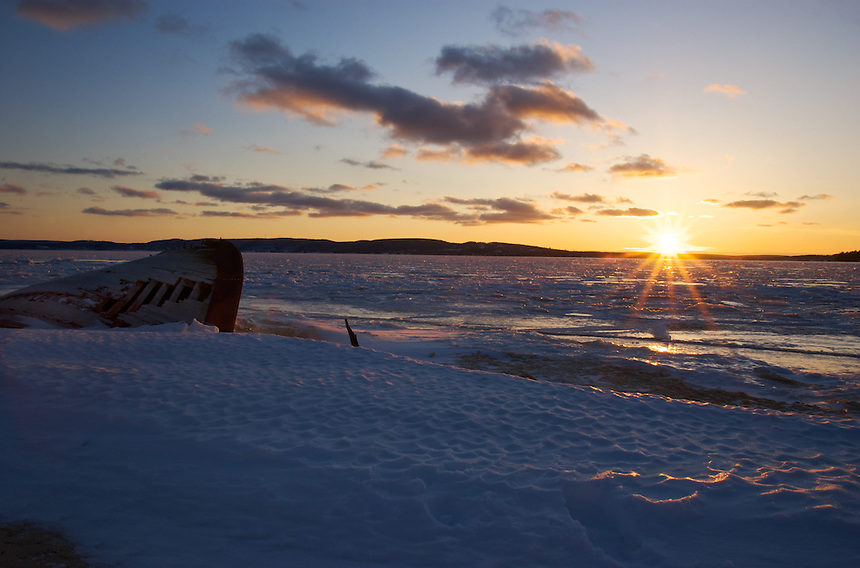 A view from Sand Point of an early-March sunset. Munising, MI