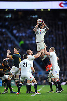 Courtney Lawes of England secures the lineout ahead of Bakkies Botha of South Africa during the QBE International match between England and South Africa at Twickenham Stadium on Saturday 15th November 2014 (Photo by Rob Munro)