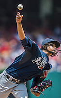 22 June 2014: Atlanta Braves starting pitcher Ervin Santana on the mound against the Washington Nationals at Nationals Park in Washington, DC. The Nationals defeated the Braves 4-1 to split their 4-game series and take sole possession of first place in the NL East. Mandatory Credit: Ed Wolfstein Photo *** RAW (NEF) Image File Available ***