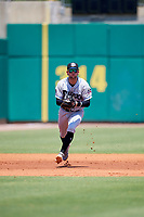 Biloxi Shuckers shortstop Jake Hager (2) during a game against the Montgomery Biscuits on May 8, 2018 at Montgomery Riverwalk Stadium in Montgomery, Alabama.  Montgomery defeated Biloxi 10-5.  (Mike Janes/Four Seam Images)