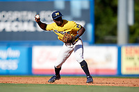 Michigan Wolverines second baseman Ako Thomas (4) throws to first base for the out during a game against Army West Point on February 17, 2018 at Tradition Field in St. Lucie, Florida.  Army defeated Michigan 4-3.  (Mike Janes/Four Seam Images)