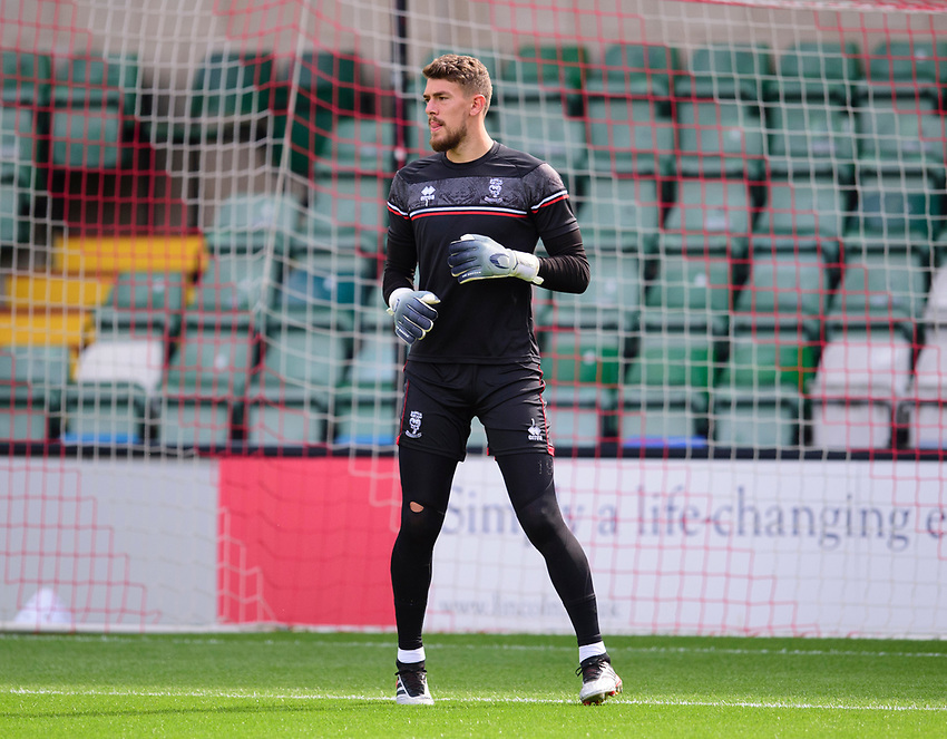Lincoln City's Alex Palmer during the pre-match warm-up<br /> <br /> Photographer Andrew Vaughan/CameraSport<br /> <br /> The EFL Sky Bet League One - Saturday 12th September  2020 - Lincoln City v Oxford United - LNER Stadium - Lincoln<br /> <br /> World Copyright © 2020 CameraSport. All rights reserved. 43 Linden Ave. Countesthorpe. Leicester. England. LE8 5PG - Tel: +44 (0) 116 277 4147 - admin@camerasport.com - www.camerasport.com - Lincoln City v Oxford United