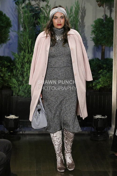 Model walks runway in outfit from the Eva Mendes For New York & Company Spring Summer 2017 fashion show, on September 6 2016, at Academy Mansion during New York Fashion Week Spring Summer 2017.