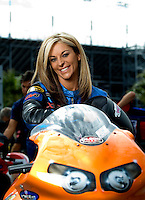 Oct. 31, 2008; Las Vegas, NV, USA: NHRA pro stock motorcycle rider Angie McBride poses for a portrait during qualifying for the Las Vegas Nationals at The Strip in Las Vegas. Mandatory Credit: Mark J. Rebilas-