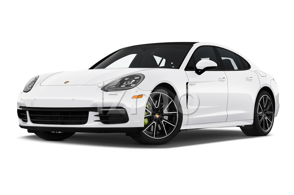 Stock pictures of low aggressive front three quarter view of 2019 Porsche Panamera 4-E-Hybrid 5 Door Hatchback Low Aggressive
