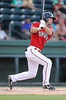 Right fielder Cole Sturgeon (35) of the Greenville Drive bats in a game against the Lexington Legends on Friday, August 29, 2014, at Fluor Field at the West End in Greenville, South Carolina. Sturgeon is a tenth-round pick of the Boston Red Sox in the 2014 First-Year Player Draft out of the University of Louisville. Greenville won, 6-1. (Tom Priddy/Four Seam Images)
