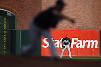 SAN FRANCISCO - APRIL 11:  Jason Heyward of the Atlanta Braves plays defense in right field during the game between the Atlanta Braves and the San Francisco Giants on Sunday, April 11, 2010, at AT&T Park in San Francisco, California. The Giants defeated the Braves 6-3.  (Photo by Brad Mangin)
