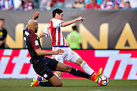 Action photo during the match United States vs Paraguay, Corresponding to  Group -A- of the America Cup Centenary 2016 at Lincoln Financial Field Stadium.<br /> <br /> Foto de accion durante el partido Estados Unidos vs Paraguay, Correspondiente al Grupo -A- de la Copa America Centenario 2016 en el Estadio Lincoln Financial Field , en la foto: (i-d),  John Brooks de USA y Miguel Almiron de Paraguay<br />  <br /> <br /> 11/06/2016/MEXSPORT/Osvaldo Aguilar.