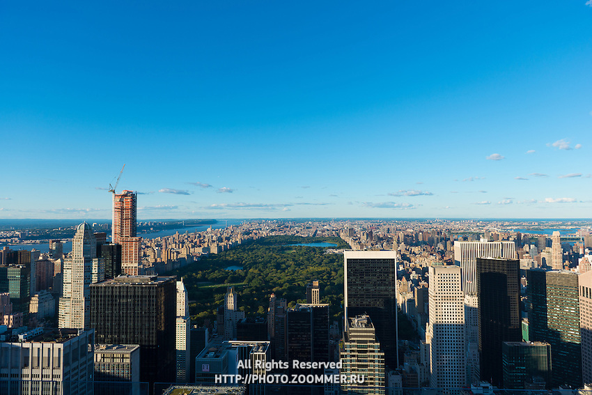 Central park and Upper Manhattan - aerial view from skyscraper of Rockefeller Center
