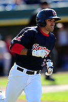 Carlos Asuaje (5) of the Portland Sea Dogs during a game versus the Reading Fightin Phils at Hadlock Field in Portland, Maine on May 23, 2015.  (Ken Babbitt/Four Seam Images)