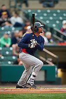 Toledo Mudhens outfielder Daniel Fields (29) at bat during a game against the Rochester Red Wings on May 12, 2015 at Frontier Field in Rochester, New York.  Toledo defeated Rochester 8-0.  (Mike Janes/Four Seam Images)