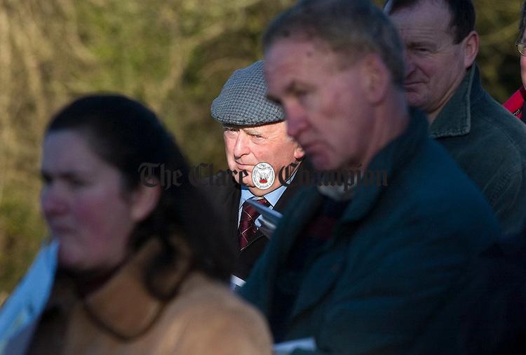 Jack Hanrahan,Corofin, listening to a talk on the importance of hedgerows on farms during a Teagasc farm walk on Liam Walsh's farm Rylane Tulla.Pic Arthur Ellis.