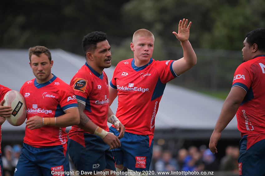 Anton Segner (centre) during the Mitre 10 Cup rugby match between Wellington Lions and Tasman Makos at Jerry Collins Stadium in Wellington, New Zealand on Saturday, 31 October 2020. Photo: Dave Lintott / lintottphoto.co.nz