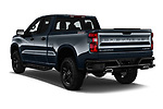 Car pictures of rear three quarter view of a 2020 Chevrolet Silverado 1500 Custom Trail Boss 4 Door Pick Up angular rear