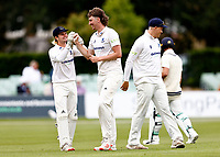 Jamie Atkins of Sussex is congratulated after bowling Heino Kuhn during Kent CCC vs Sussex CCC, LV Insurance County Championship Group 3 Cricket at The Spitfire Ground on 11th July 2021