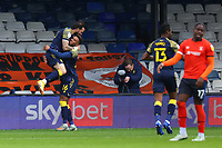 17th October 2020; Kenilworth Road, Luton, Bedfordshire, England; English Football League Championship Football, Luton Town versus Stoke City; Steven Fletcher of Stoke City celebrates with Tyrese Campbell after he scores for 0-1 in the 46th minute