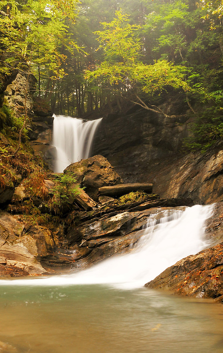 A misty day at the double drop of Old City Falls in… you guessed it… Old City, Vermont.