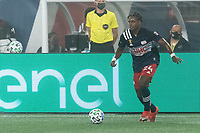 FOXBOROUGH, MA - SEPTEMBER 02: DeJuan Jones #24 of New England Revolution dribbles at midfield during a game between New York City FC and New England Revolution at Gillette Stadium on September 02, 2020 in Foxborough, Massachusetts.