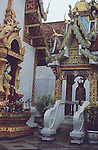 "Wat Phra That Doi Suthep (Thai: วัดพระธาตุดอยสุเทพ, Thai pronunciation: [wát.pʰráʔ.tʰâat.dɔɔj.sùʔ.tʰêep], Northern Thai pronunciation: [wa̋t.pʰa̋ʔ.tʰâat.dɔɔj.súʔ.têep]) is a Theravada Buddhist temple in Chiang Mai Province, Thailand. The temple is often referred to as ""Doi Suthep"" although this is actually the name of the mountain it is located on. The temple is located 15 kilometres (9.3 mi) from the city of Chiang Mai and is a sacred site to many Thai people. From the temple, impressive views of Chiang Mai can be seen and it remains a popular destination for tourists."