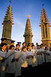 Oxford Choristers sing madrigals from the top of Magdalene college  tower each May Day morning. 1990s 1995 UK
