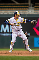 Travis Maezes (9) of the Michigan Wolverines throws during a 2015 Big Ten Conference Tournament game between the Michigan Wolverines and Indiana Hoosiers at Target Field on May 20, 2015 in Minneapolis, Minnesota. (Brace Hemmelgarn/Four Seam Images)