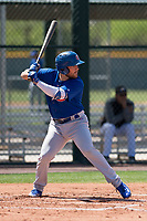 Chicago Cubs first baseman Cam Balego (9) at bat during an Extended Spring Training game against the Colorado Rockies at Sloan Park on April 17, 2018 in Mesa, Arizona. (Zachary Lucy/Four Seam Images)