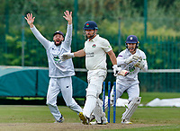 23rd September 2021; Aigburth, Liverpool, Merseyside, England; LV=Country Cricket Championship; Lancashire versus Hampshire;<br /> Hampshire skipper James Vince and keeper Lewis McManus make an unsuccessful appeal against Steven Croft of Lancashire