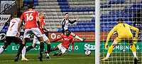 Bolton Wanderers' Gethin Jones (centre) shoots at goal <br /> <br /> Photographer Andrew Kearns/CameraSport<br /> <br /> The EFL Sky Bet League Two - Bolton Wanderers v Salford City - Friday 13th November 2020 - University of Bolton Stadium - Bolton<br /> <br /> World Copyright © 2020 CameraSport. All rights reserved. 43 Linden Ave. Countesthorpe. Leicester. England. LE8 5PG - Tel: +44 (0) 116 277 4147 - admin@camerasport.com - www.camerasport.com