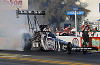 Feb. 14, 2013; Pomona, CA, USA; NHRA top fuel dragster driver Shawn Langdon during qualifying for the Winternationals at Auto Club Raceway at Pomona.. Mandatory Credit: Mark J. Rebilas-