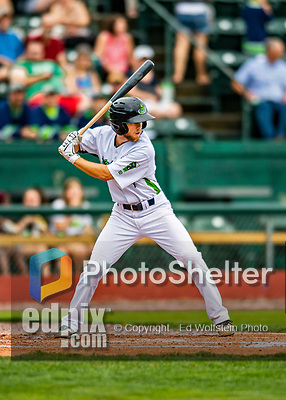 21 July 2019: Vermont Lake Monsters outfielder Michael Woodworth in action against the Tri-City ValleyCats at Centennial Field in Burlington, Vermont. The Lake Monsters rallied to defeat the ValleyCats 6-3 in NY Penn League play. Mandatory Credit: Ed Wolfstein Photo *** RAW (NEF) Image File Available ***